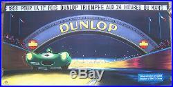 Affiche Ancienne Auto 24 Heures Du Mans Dunlop Jaguar Delarue Nouvellière 1956