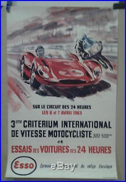 Affiche Ancienne Automobile 24 Heure Du Mans Auto Moto 1963 Belingond Esso