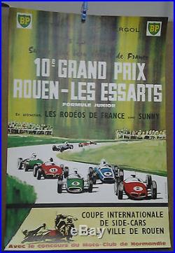 Affiche Ancienne Automobile Rouen Les Essarts 1963 Seine Maritime Bp