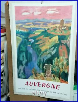 Affiche Ancienne Auvergne Chemin De Fer Sncf 1959