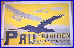Affiche Ancienne Avion Aviation Meeting Coupe Paris Pau Gabaard Circa 1910