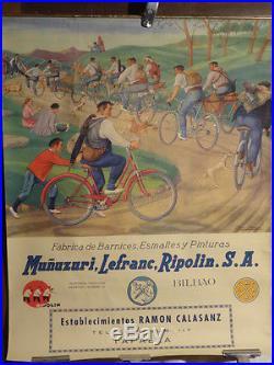 Affiche Ancienne Basque Arrue Cycles Rare