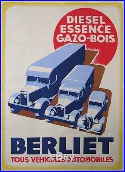 Affiche Ancienne Berliet Vehicules Automobiles Diesel Essence Gazo-bois CI 1940