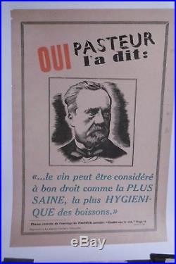 Affiche Ancienne Bienfaits Vin Pasteur
