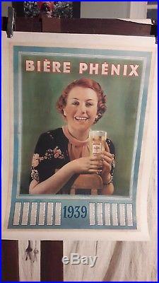 Affiche Ancienne Biere Phenix Marseille Femme Calendrier 1939