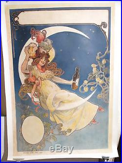 Affiche Ancienne Biere Tamagno Femme Lune Superbe