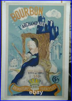 Affiche Ancienne Bourbon L'archibault Allier Station Thermale Sncf Magnand Vlack