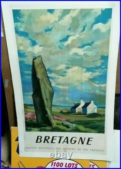 Affiche Ancienne Bretagne S N C F 1946 Abel
