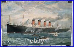 Affiche Ancienne Cgt French Line Paquebot France Bateau New York Travel Poster