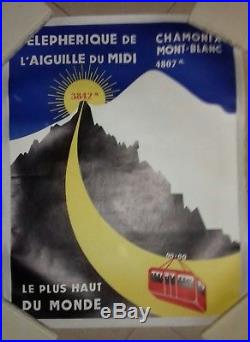 Affiche Ancienne Chamonix Mt Blanc Téléphérique De L'aiguille Du MIDI