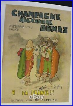 Affiche Ancienne Champagne Dumas Epernay Verneuil 1899 Gaston Noury Mousquetaire