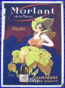 Affiche Ancienne Champagne Morlant Reims Stall Circa 1910