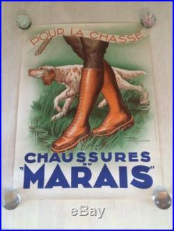 Affiche Ancienne Chasse Vénerie Chaussure Du Marais Vintage Papier Ancien