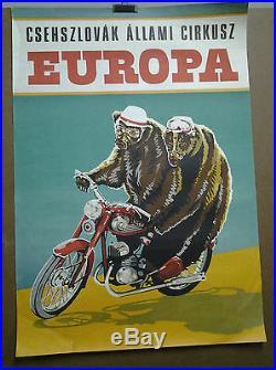 Affiche Ancienne Cirque Ours Sur Moto Csehszlovak Allami Cirkusz Europa