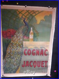 Affiche Ancienne Cognac Jacquet Paon Couleurs Belle
