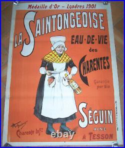 Affiche Ancienne Cognac Saintongeoise Eau De Vie Charentes Tesson Circa 1920