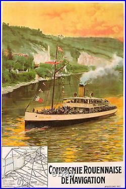 Affiche Ancienne Compagnie Rouennaise De Navigation Le Felix Faure CI 1900