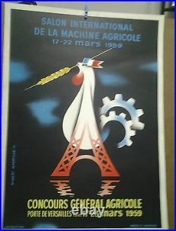 Affiche Ancienne Concours General Agricole Porte De Versailles 1959 Tour Eiffel
