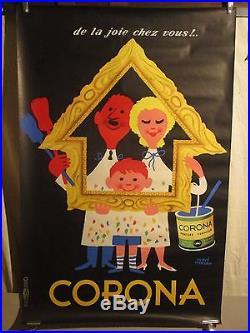 Affiche Ancienne Corona Peinture Couple Marrant Herve Morvan Deco