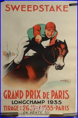 Affiche Ancienne Courses Chevaux Grand Prix De Paris 1935