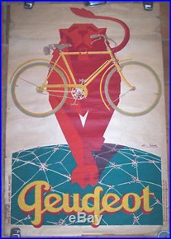 Affiche Ancienne Cycle Velo Peugeot Le Lion Favre Circa 1930