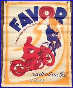 Affiche Ancienne Cycles Favor 160 X 120 Cms Vers 1925