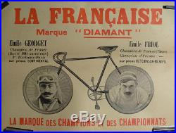 Affiche Ancienne Cycles La Francaise Champions Georget Friol