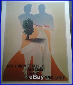 Affiche Ancienne Des Jeunes Genereux Energiques Loyaux Guerre 1939 1945 Herve