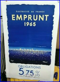 Affiche Ancienne Emprunt Electricite De France Villemot Tauzin 1965