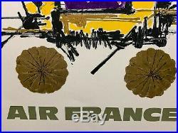 Affiche Ancienne Entoilée AIR FRANCE JAPON par Georges MATHIEU 1967 dim 061X099