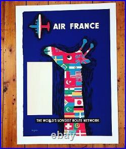 Affiche Ancienne Entoilee Air France Raymond Savignac 1950s