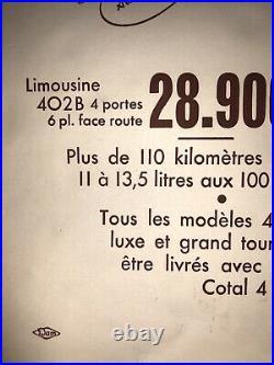 Affiche Ancienne Entoilée Originale Peugeot 402. B