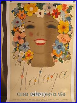 Affiche Ancienne Espagne Malaga Femme Fleurs