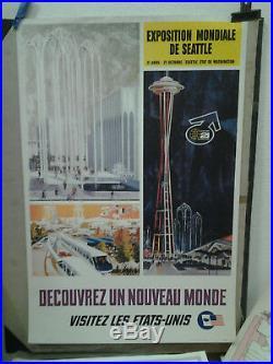 Affiche Ancienne Exposition Seattle Etats Unis USA Amerique Du Nord 1962