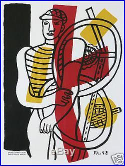 Affiche Ancienne Fernand Leger 1948 Le Travail Le Cycliste