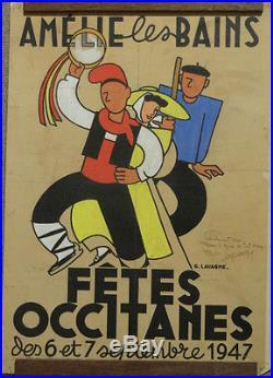 Affiche Ancienne Fetes Occitanes Amelie Les Bains