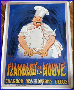 Affiche Ancienne Flambant De La Houve- Charbon Des Cordons Bleus