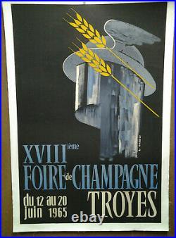 Affiche Ancienne Foire De Champagne Troyes Aube 1965 L Chibret