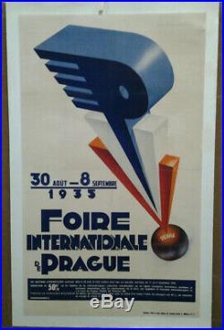 Affiche Ancienne Foire Internationale Prague Tchecoslovaquie Ceskoslovensko
