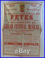 Affiche Ancienne Forges Les Eaux Bray Pompiers Course Velocipede 1872 Normandie