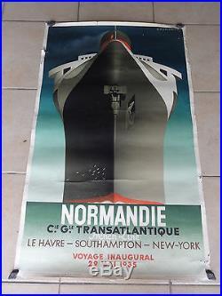 Affiche Ancienne French Line Bateau Paquebot NORMANIE Signe A. M. Cassandre 35