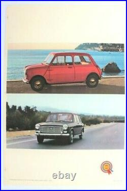 Affiche Ancienne Garage Automobile Bmc Mini Austin Leyland Morris 1100 1300