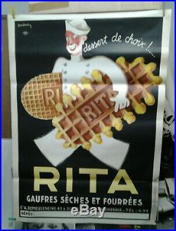 Affiche Ancienne Gauffres Rita Roubaix Nord Leon Dupin