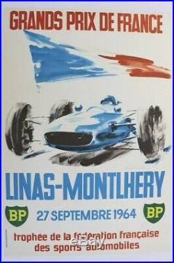 Affiche Ancienne Grand Prix France Circuit Montlhery 27 Sept 1964 Beligond
