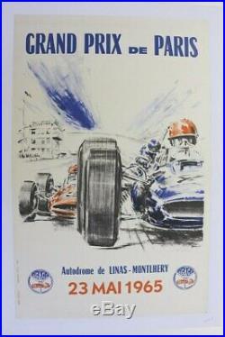 Affiche Ancienne Grand Prix Paris Autodrome Linas Montlhery 23 Mai 1965