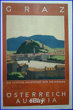 Affiche Ancienne Graz Autriche Austria Osterreich Wagula