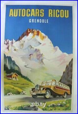 Affiche Ancienne Grenoble Car Autocar Bus Ricou Citroen Jacquet Alpes Mont Blanc
