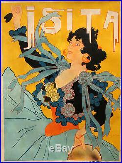 Affiche Ancienne Isita Georges de Feure 1895 Entoilée