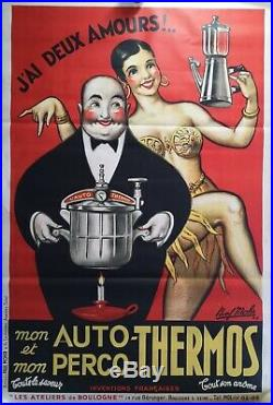 Affiche Ancienne Josephine Baker Auto Thermos Paul Mohr 1946