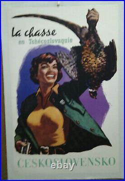 Affiche Ancienne La Chasse En Tchecoslovaquie Ceskoslovensko Vydal Cedok
